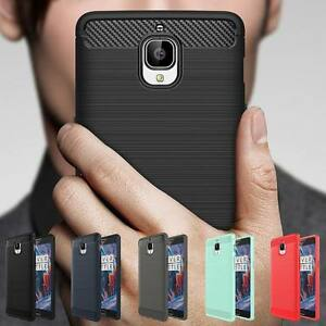 best authentic 6c8a4 baeb4 Details about Shockproof Carbon Fiber Soft TPU Rubber Brushed Case Cover  For OnePlus 6T 3 3T 5