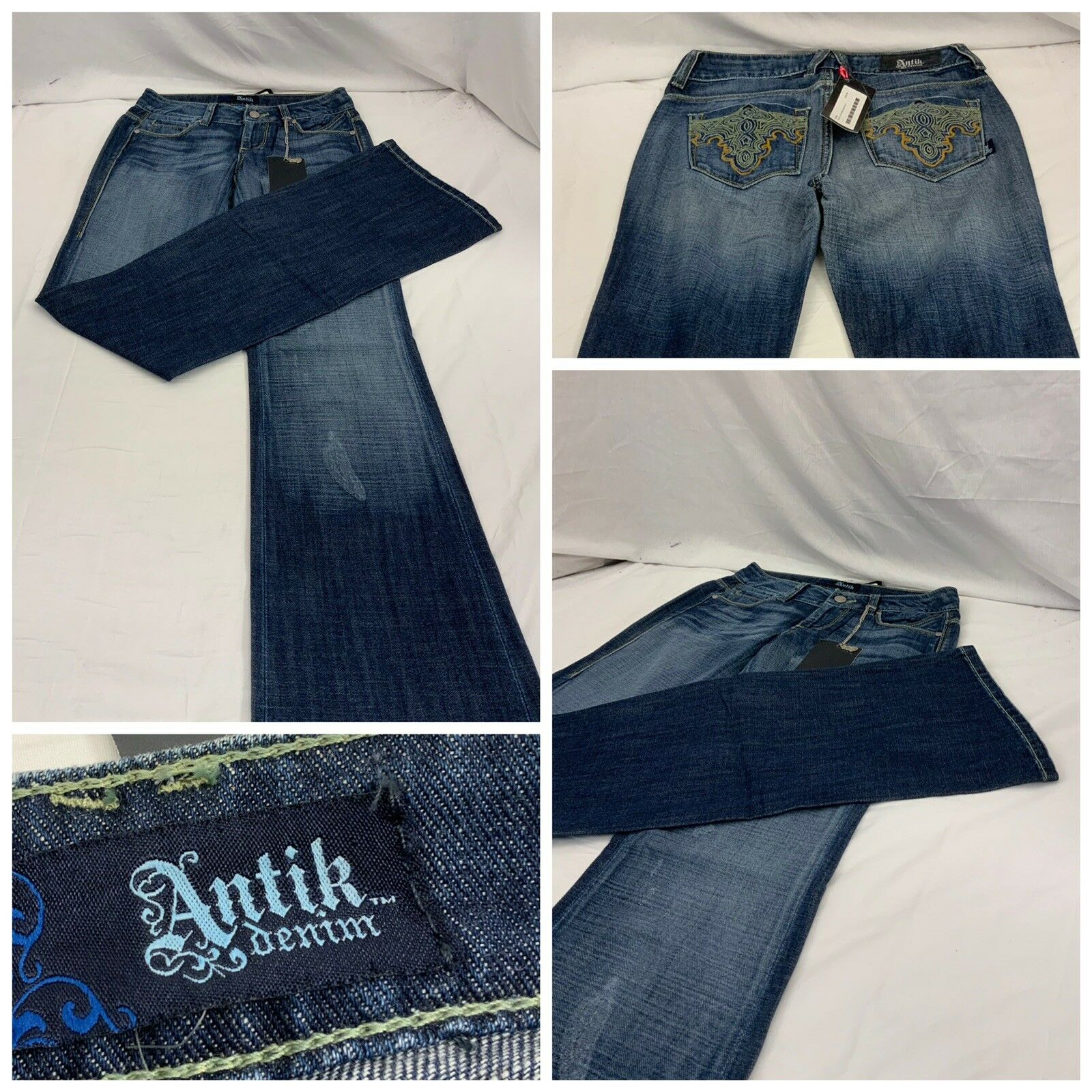 Antik Denim Jeans Sz 25 bluee Medium Wash 100% Cotton Mexico NWT YGI Y8-299CG