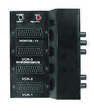3 Way Scart Switch Box With 2 Phono Plugs