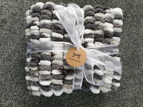 Hand Knitted Super Soft Baby Pom Pom Blanket