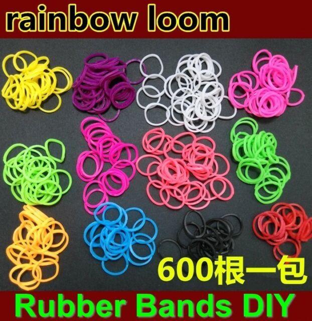 600pcs+24 S-Clips Tie Dye Rainbow Rubber Bands Loom Refill Bracelet Making DIY