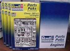 4 CHEVY 283 ENGINE & TRANNY KITS 1:25th REVELL MONOGRAM NO LONGER MADE MIB NOS