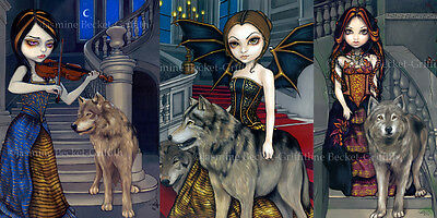 Jasmine Becket-Griffith SIGNED Wolf Song, Manor & Countess set of 3 art prints