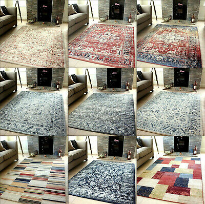 80x300cm Runner New Terra Burgundy Navy Traditional Vintage Style Area Rug Distressed Faded Design Mats Hall Runners