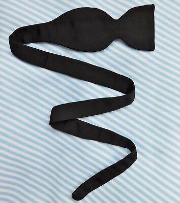 Single ended bow tie Vintage 1950s black silk pique UNUSED mens formal dress