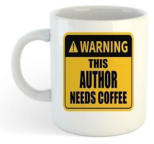 Warning-Esta-Autor-Necesita-Cafe-Blanco-Taza-Regalo-Trabajo-Regalo