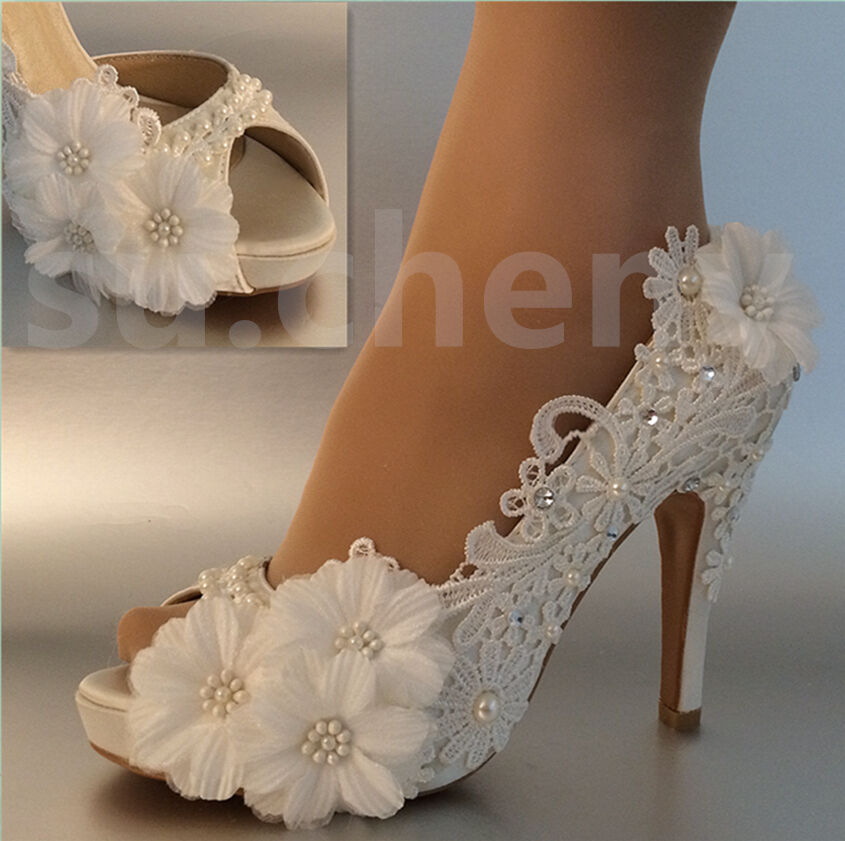 "Su.cheny 3"" 4  Lace white light ivory open toe sequin daisy Wedding Bridal shoes"
