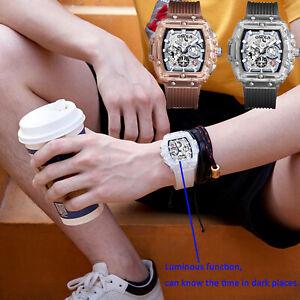 New-Women-Men-Fashion-Silicone-Quartz-Watch-Waterproof-Chronograph-Square-Design