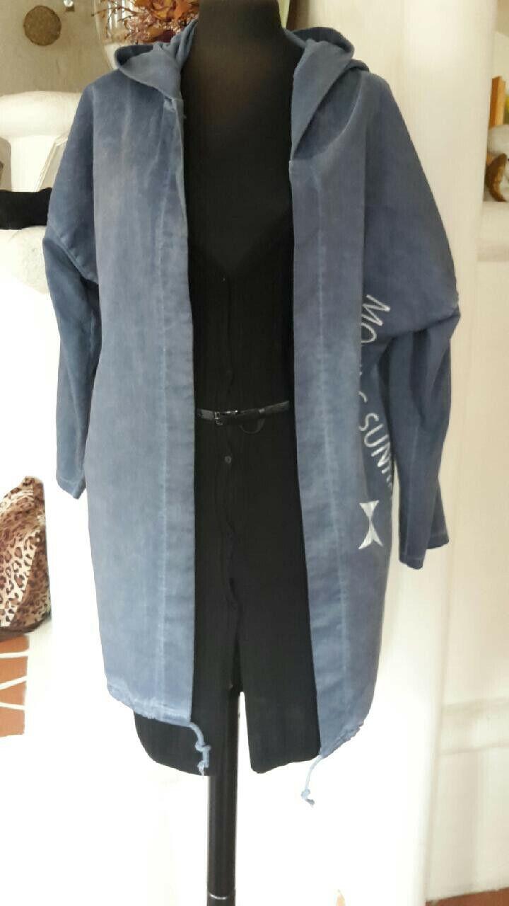 Mode Kapuzenparka Frühling Jeansblau mit Aufdruck Gr. 38 40 mit Tunnelzug