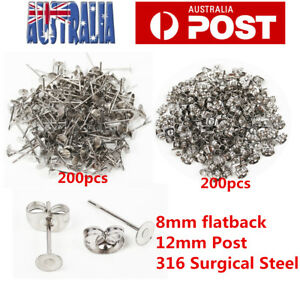 400pcs-Earring-Stud-Posts-8mm-Pads-and-backs-Hypoallergenic-Surgical-Steel-AU