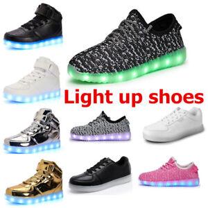 SystéMatique Femmes Hommes Lumière Del Up Chaussures High Top Sneakers Lumineuse Chaussures De Course Charge Usb-afficher Le Titre D'origine