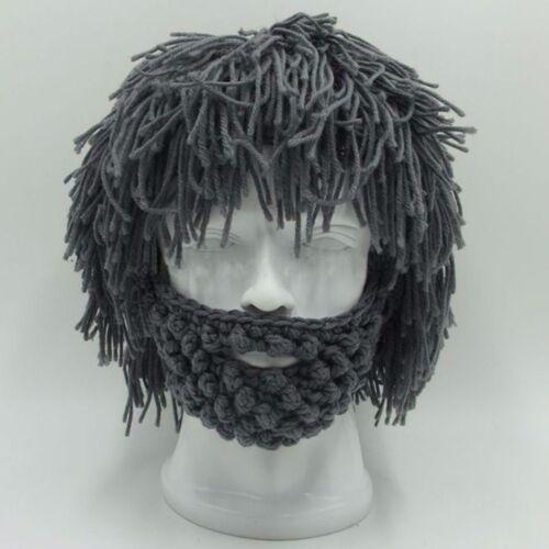 Handmade Knitted Men Winter Crochet Mustache Hat Beard Beanies Face Tassel Mask