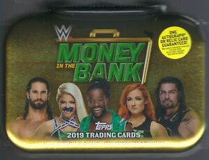 2019-Topps-WWE-MONEY-IN-THE-BANK-Wrestling-Trading-Card-BRIEFCASE-TIN-Auto-Relic