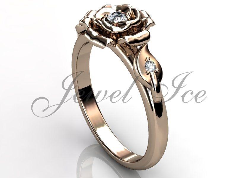 14k pink gold Diamond Leaf and Vine Unique Flower Engagement Ring ER-1115-3
