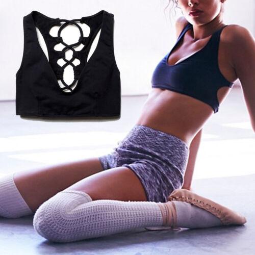 Womens Fitness Tank Top Running Vest Ladies Gym Sleeveless Sports Bra Shirt Crop