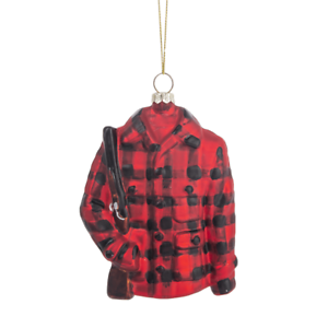 """4.5/"""" Tall Glass PLAID HUNTING JACKET Christmas Ornament by Midwest CBK"""