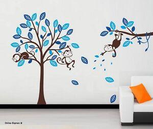 Details About Monkey Tree Jungle Nursery Wall Art Stickers Decals Boy Children Bedroom Uk