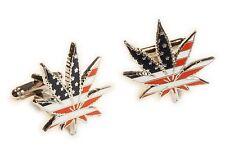 Marijuana 420 USA Flag Medical Weed Cannabis Suit Wedding Cufflinks Cuff Links