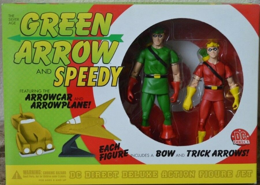 DC Direct verde Arrow & Speedy argento Age With Mini Arrowauto & Arrowplane MISB