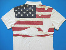 Ralph Lauren Denim and Supply Off White Destroyed Flag Polo Shirt Ultra slim  S