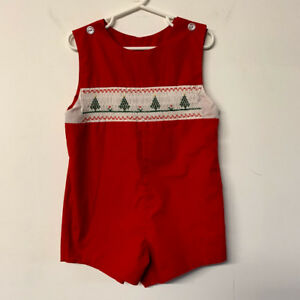 VTG-Red-Christmas-Smocked-Romper-Christmas-Trees-Handmade-Child-Size-26-034-Chest