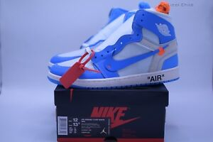 Dettagli su Nike x Off White Air Jordan 1 Retro High OG UNC Size 12 AQ0818 148