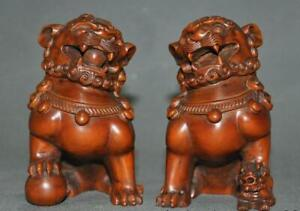 4-034-Old-Chinese-Boxwood-wood-Fengshui-Lion-Foo-dog-Beast-wealth-auspicious-Statue