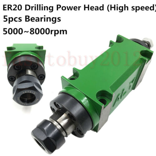 High Speed ER20 60mm Mechanical Spindle Power Head Unit Max 8000rpm for Drilling