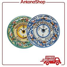 Orologio in ceramica di Caltagirone Verde o Blu artigianale realizzato a mano
