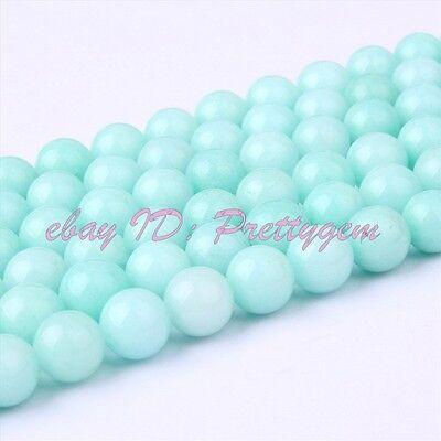 "Round Blue Amazonite Jade Jewelry Making Spacer Loose Gemstone Beads Strand 15"""