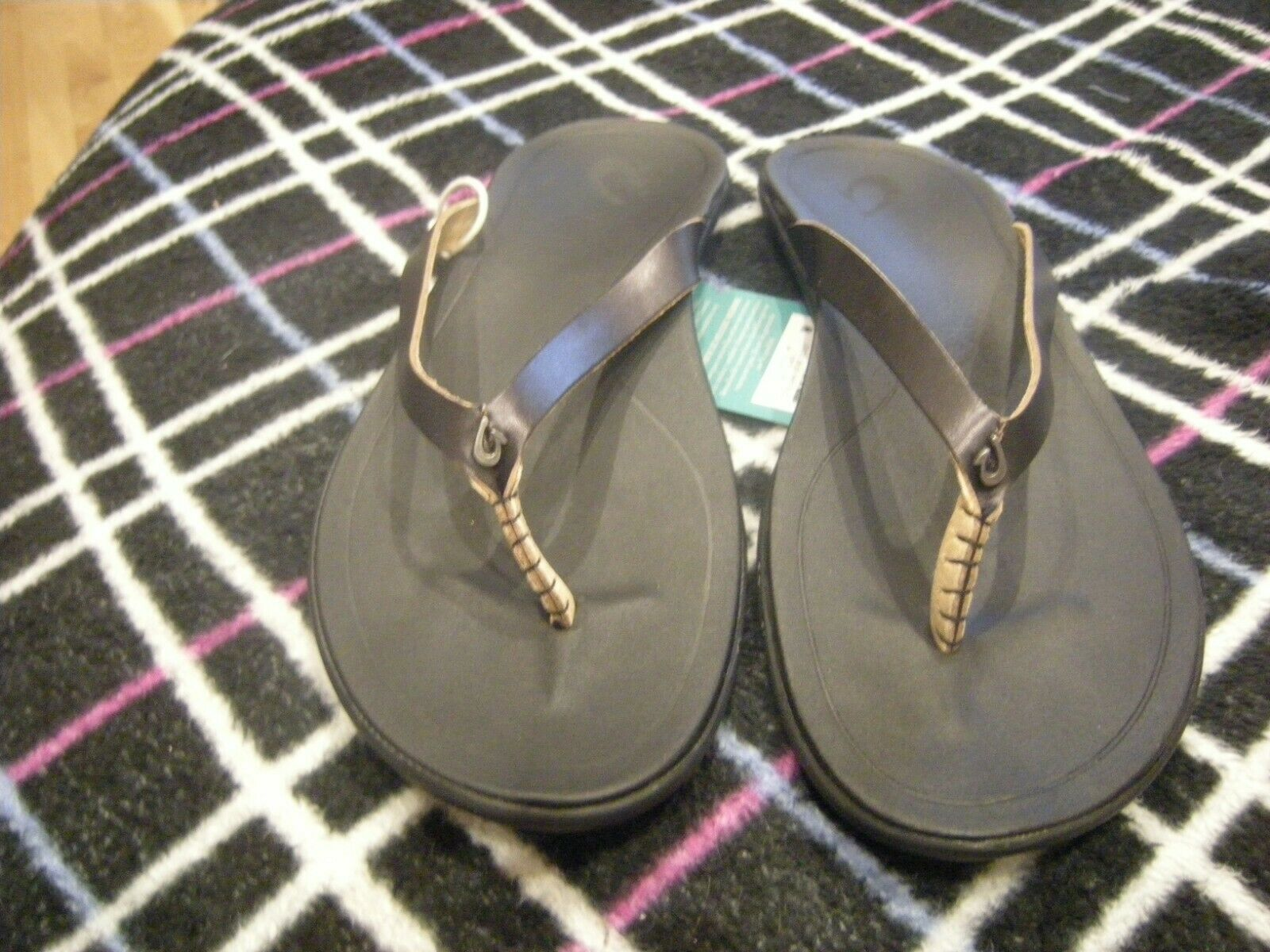 New donna nero nero nero Olukai Leather Ho'opio Flip Flops, 11 d6f494