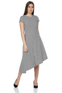 Roman-Originals-Women-039-s-Black-Stripe-Print-Asymmetric-Hem-Dress