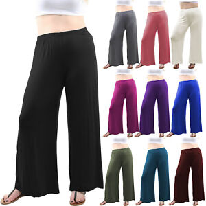 New Plus Size Womens Plain Palazzo Wide Leg Flared Ladies Trousers Pants 12-30
