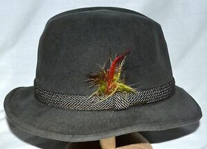 9dd8e1a080aad Vintage Stetson Dark Gray with Side Feather Mens Fedora Distressed ...