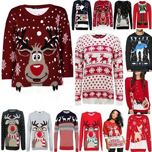 Womens Mens Ladies Unisex Knitted Novelty Retro Xmas Pudding Christmas Jumpers