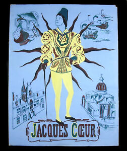 Jacques-Heart-Project-Poster-Gouache-Per-Ph-Voinat-c1940-Small-King-of-Bourges