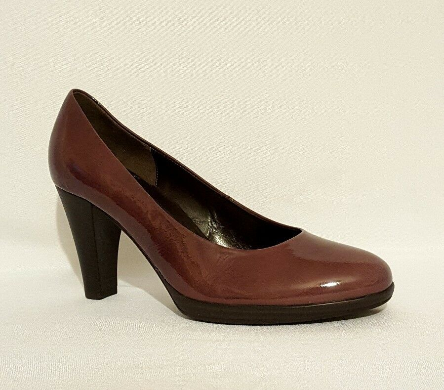 NEW GABOR lila PLUM braun PATENT LEATHER HIGH HEELS COURT schuhe LADIES D FIT