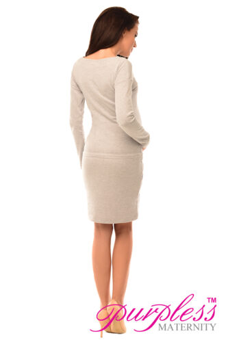 Purpless Maternity Pregnancy and Nursing Front Tie Dress Top with Pockets 6204