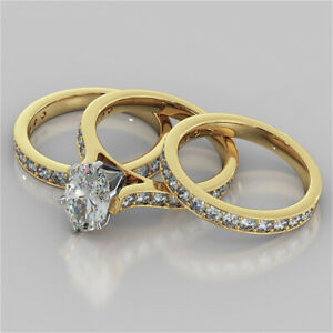 2.92 Ct Oval Moissanite Anniversary Trio Band Set 18K Solid Yellow Gold Size 4 5