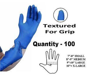 100 X Grande Azul Nitrilo Fuerte Resistente Tatuaje mecánico Guantes Desechables L  </span>