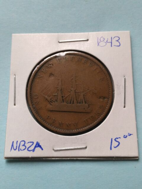 1843 New-Brunswick One Penny Token, Free Shipping!