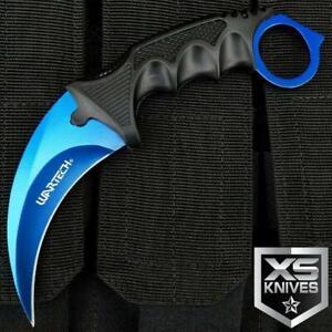 "7.5"" BLUE Survival Hunting KARAMBIT Fixed Blade NECK Knife CLAW + Sheath"