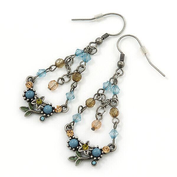 Vintage Inspired Acrylic Bead, Crystal Chandelier Earrings In Pewter Tone