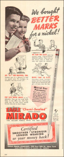 1941 vintage Ad EAGLE MIRADO Pencils 5 cents each! 122817