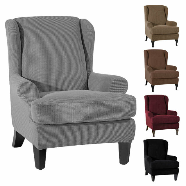 Wingback Slipcover Wing Arm Chair Recliner Settee Sofa Stretch Protector Covers
