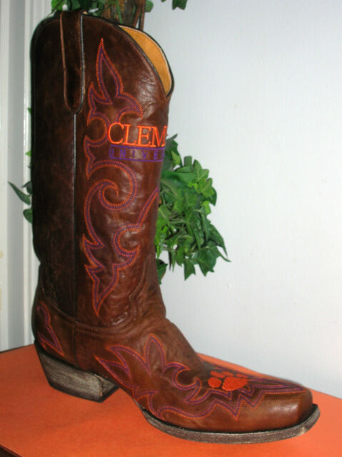 66fc2c09f9f Gameday Clemson Brown Leather Square toe Western/Cowboy Boots Men's Size 10