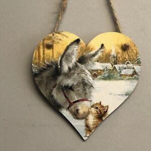 Donkey-amp-kitten-Handmade-Decoupaged-wooden-hanging-heart-Christmas-decoration