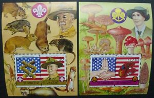 ST-Vincent-1986-BOY-SCOUT-SCOUTS-Girl-Guides-funghi-con-i-funghi-blocco-31-32-MNH