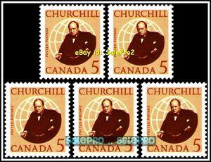 5x-CANADA-1965-CANADIAN-BRITISH-WINSTON-CHURCHILL-FV-FACE-25-CENT-MNH-STAMP-LOT