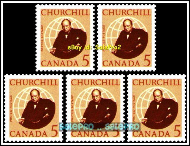 5x CANADA 1965 CANADIAN BRITISH WINSTON CHURCHILL FV FACE 25 CENT MNH STAMP LOT
